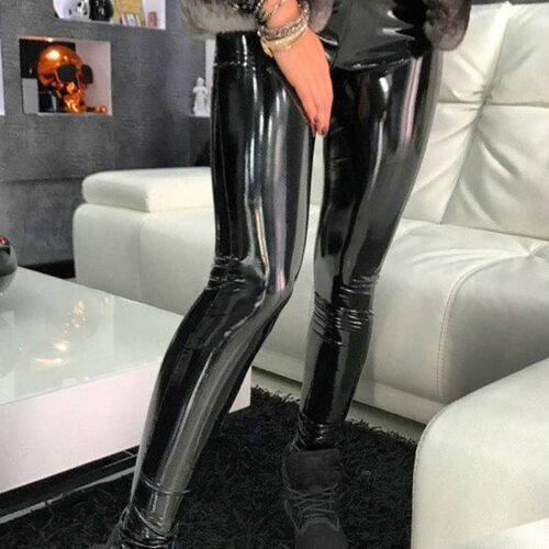 Magic Women High Waisted PU Leather Pants Slim Elastic Tights Skinny Hip Trouser