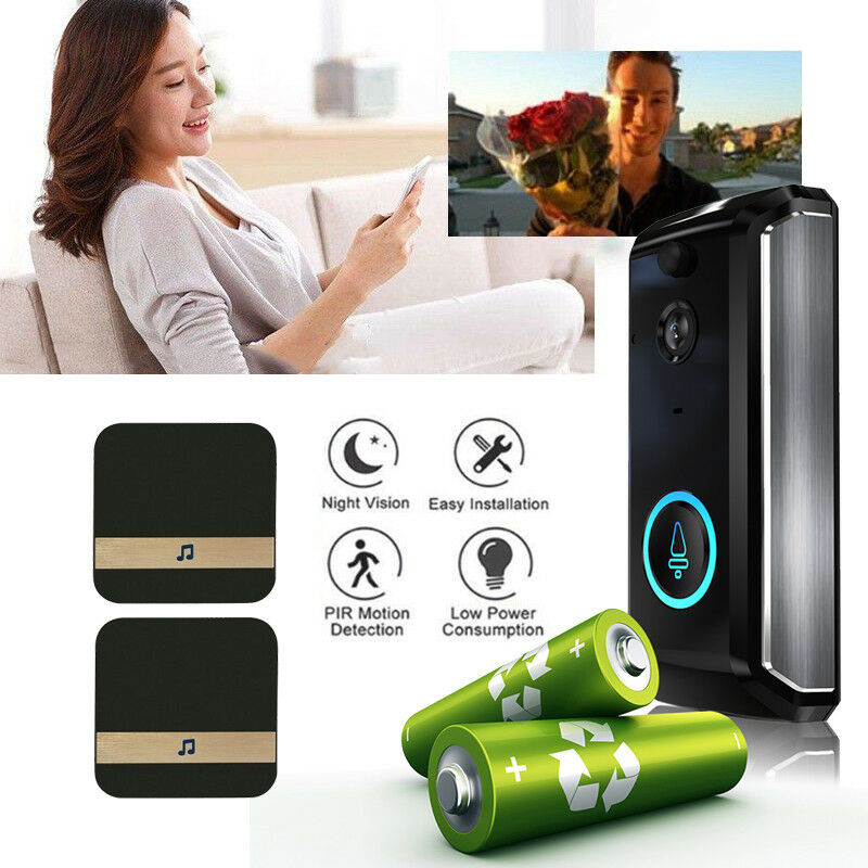 Wireless Smart WiFi Doorbell HD IR Camera Video Recorder Intercom Aluminum Bell