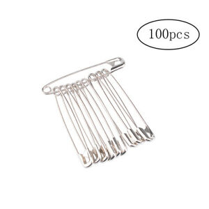 Lot of 30 Big 1 3//4 inch Long Silver Finished Steel Metal Craft Safety Pins