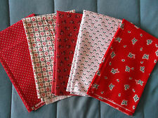 Lot of Five Christmas Calico Fat Quarters 100% Cotton New