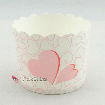 Pink Heart Cake Baking Paper Cup Cupcake Muffin Cases Liners Wedding Home Party
