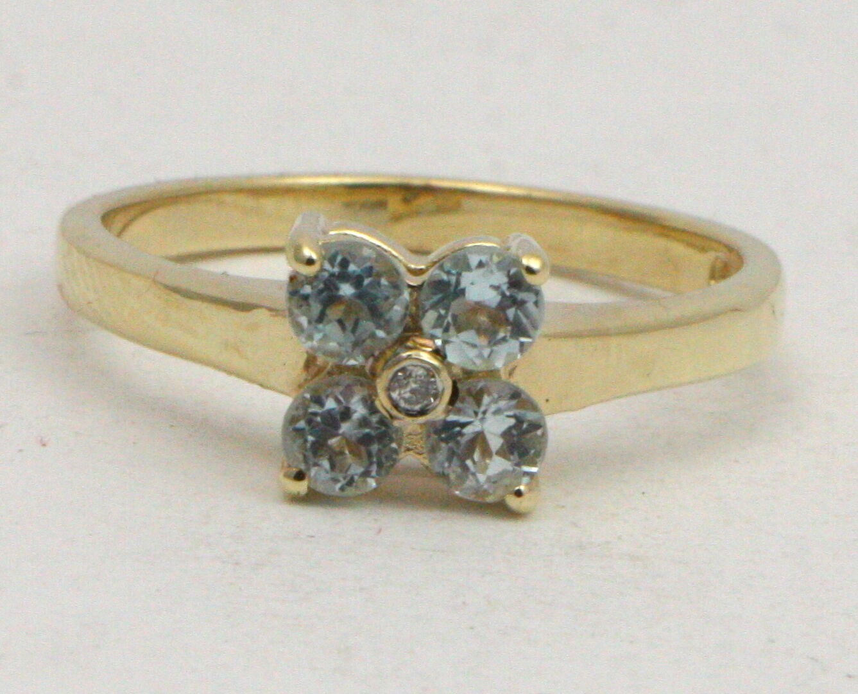 Bjc 9Ct gold yellow Topacio blue&Diamante Margarita size O
