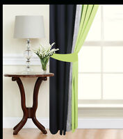 Eyelet curtains Ring Top Fully Lined Ready made curtains Diamante Lime Black