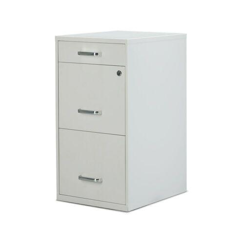 "52144 2806666 Staples 3-Drawer Vertical File Cabinet Locking Letter White 18/""D"