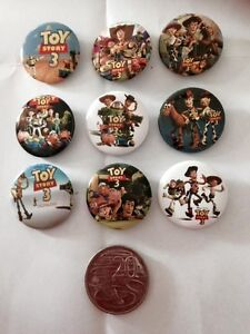 Lot-of-9-Toy-Story-3-Badges-3cms-diameter-for-loot-bags-party-favours
