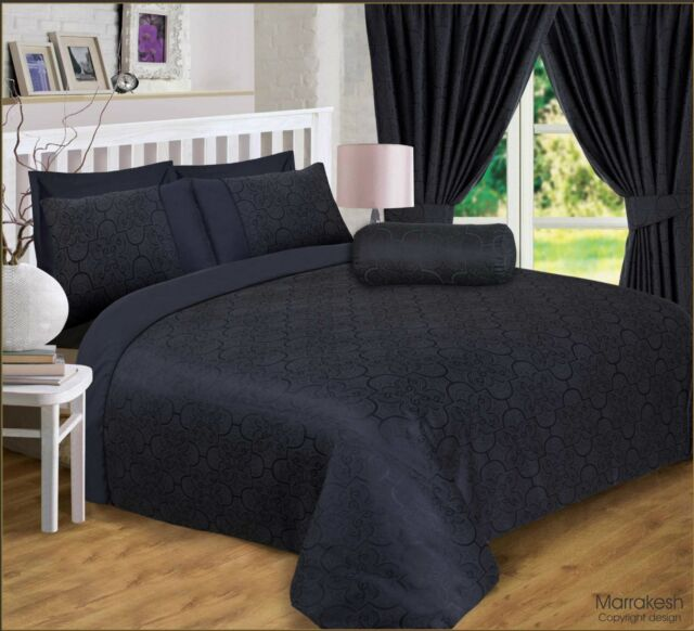 Super King Size Marrakesh Black Luxury, Damask Jacquard Bedding
