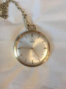 Klug Helva Incabloc Taschenuhr 750 Vergoldet Swiss Uhren Antikschmuck