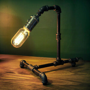 Vintage Industrial Retro Style Steel Pipe Desk Table Lamp Light ...