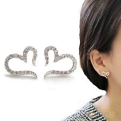 Womens Stylish Heart Silver Plated Ear Studs Girls Crystal Rhinestone Earrings