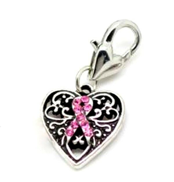 FOR  dwbrowneyes1 Pink Ribbon Charms Breast Cancer Awareness Heart Lot of 80