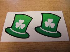 2x green irish leprechaun hat / shamrock sticker decal - 50mm
