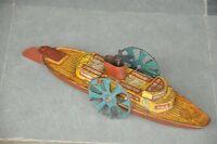Vintage Wind Up Fine Litho Paddle Wheel Water Boat Tin Toy , Japan