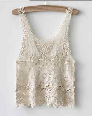 Crochet Festival Boho Hippy Tank Beach Top Ethnic Indie Singlet Embroidery Lace