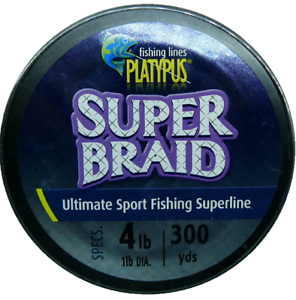 Platypus Super-Braid Fishing Line - 4lb 300yds New Hook Eze