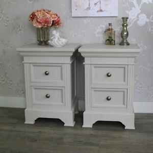 meuble paire de gris taupe table de chevet coffres shabby. Black Bedroom Furniture Sets. Home Design Ideas