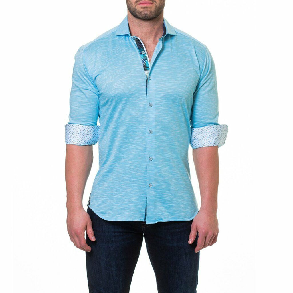 Wall Street bluee Jersey Men's long sleeve dress shirt