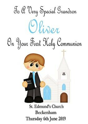 Sporting First Holy Communion Card 2018 Little Boy Fully Personalised Son Grandson Etc