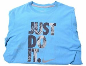 NIKE-Boys-T-Shirt-Top-12-13-Years-Large-Blue-Cotton-KF09