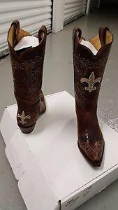 869ee36d Details about New Orleans Saints Ladies Brown Leather Boots size 5.5-11  Fancy Stitched Cowboy