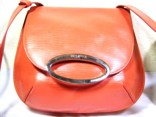 Vintage GOLD PFEIL Salmon Pink Leather Shoulder Ba