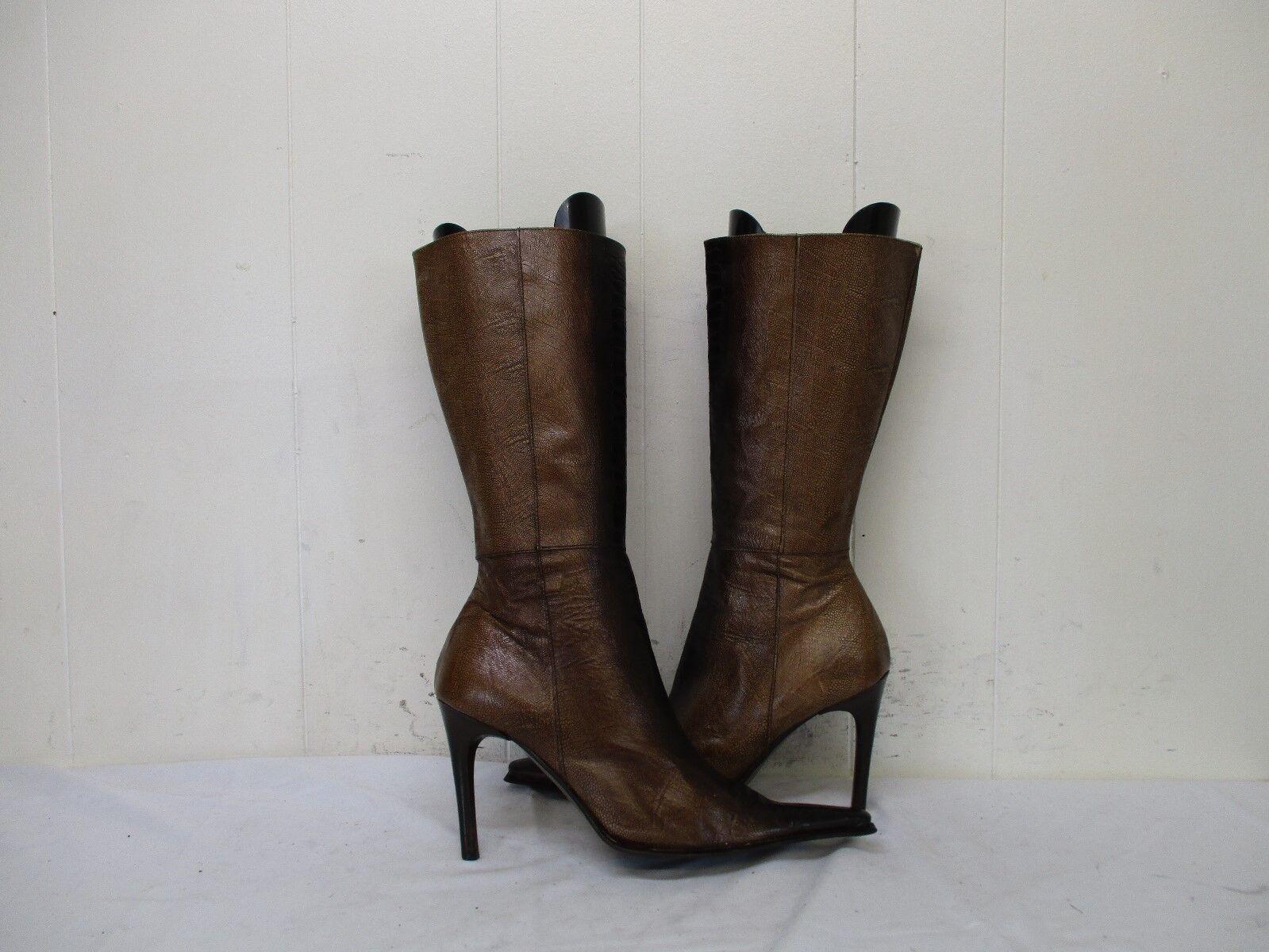 L'AUTRE FEMME Braun Fashion Ostrich Leg Leder Zip Fashion Braun Stiefel Damenschuhe Größe 37 EUR 638680