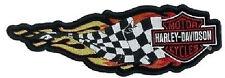 Aufnäher Harley Davidson Siegesfahne in Flammen 25x8cm Flaming Checkered Banner