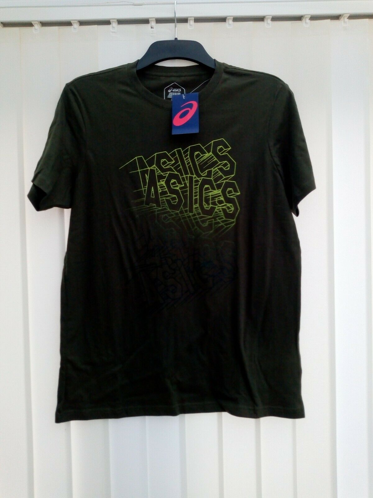 BNWT Asics GPX Wall Tee Fitness Mens Olive Green Size Small