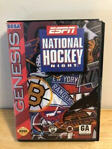 ESPN-National-Hockey-Night-Sega-Genesis-1994-Complete-with-Poster