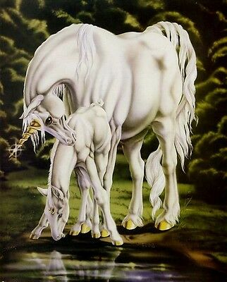 Unicorn Mare & Foal: 8x10 In. Fantasy Art Print
