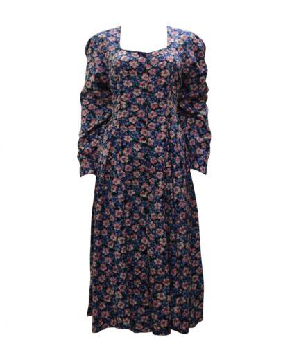 Abito Vintage a Bobo 8 Chic lunghe Hippie maniche bottoni con unica floreale 12 Taglia ZHHq8
