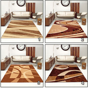 NEW-BEAUTIFUL-MODERN-RUGS-TOP-DESIGN-LIVING-ROOM-Different-Sizes-BROWN