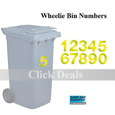 "Hi Vis Number 4  Self Adhesive Stick on Vinyl Wheelie Bin House  size  6.5/"""