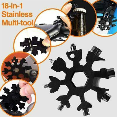 18 In 1 Stainless Multi-Tool Snowflake Shape Key Chain Hex Screwdriver Silver