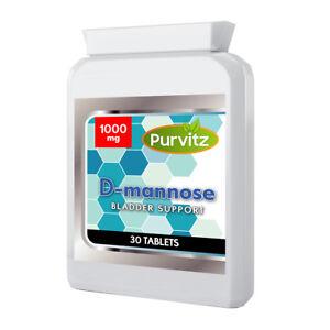 D-manosa-1000mg-comprimidos-soporta-saludable-Tracto-Urinario-Cistitis-UK-purvitz