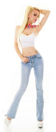 Da Donna Bootcut Jeans Pantaloni colpo Pantaloni DENIM BLUE BLEACHED Stretch S M L XL