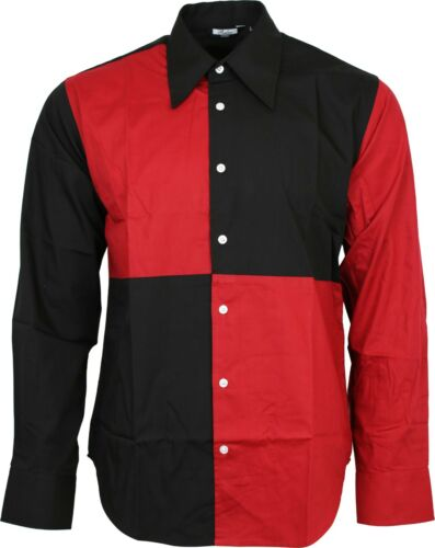Relco EXCLUSIVE Homme Harlequin Jester Noir Chemise Rouge Party Stage Fancy Dress