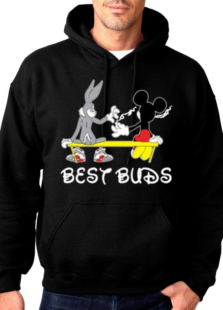 Best Buds Smoking Weed Cartoon Marijuana Kush Chronic Hooded Sweatshirt Hoodie