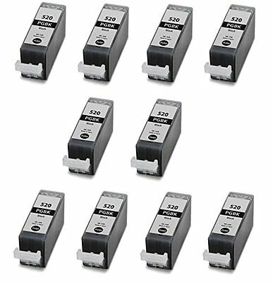 10 Black PGI520 ink cartridges for CANON IP3600 MP550 MP560 MP620 MP630 ip4700