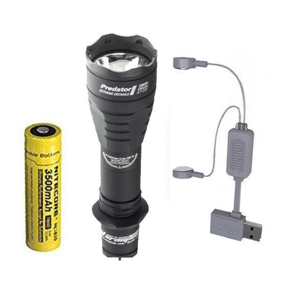 Armytek Predator Pro v3 XHP35 Hi Flashlight CW w NL1835 Battery + A1 Charger