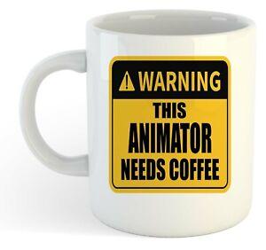 Warning-Esta-Animator-Necesita-Cafe-Blanco-Taza-Regalo-Trabajo-Regalo