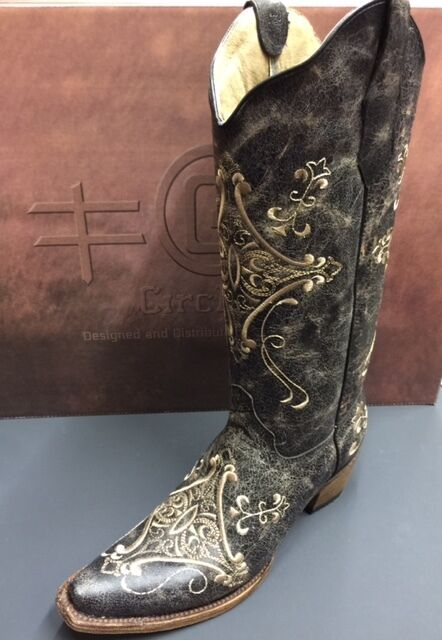 04c73685ff7 Women's Circle G by Corral Brown Crackle/Bone Embroidery Snip Toe L5048