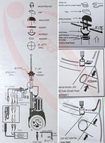 AUTO veicolo motore elettrico telescopico antenna per MERCEDES OPEL AUDI KIA UNIVERSALE