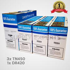3x TN450 Toner 1x DR420 drum for HL-2240 HL-2270DW HL-2280DW MFC-7360N HL-2270DW