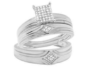 Image Is Loading 10k White Gold Men Ladies Diamond Trio Wedding