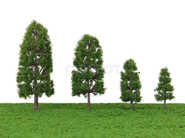 20pcs Wargame Railway Scenery Landscape Model Trees Dark Green 1.77 - 3.94 Inch