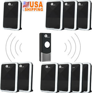 1Byone LED 3 Volume 328ft 36 Tones Wireless Door Bell Chime Remote Control Black