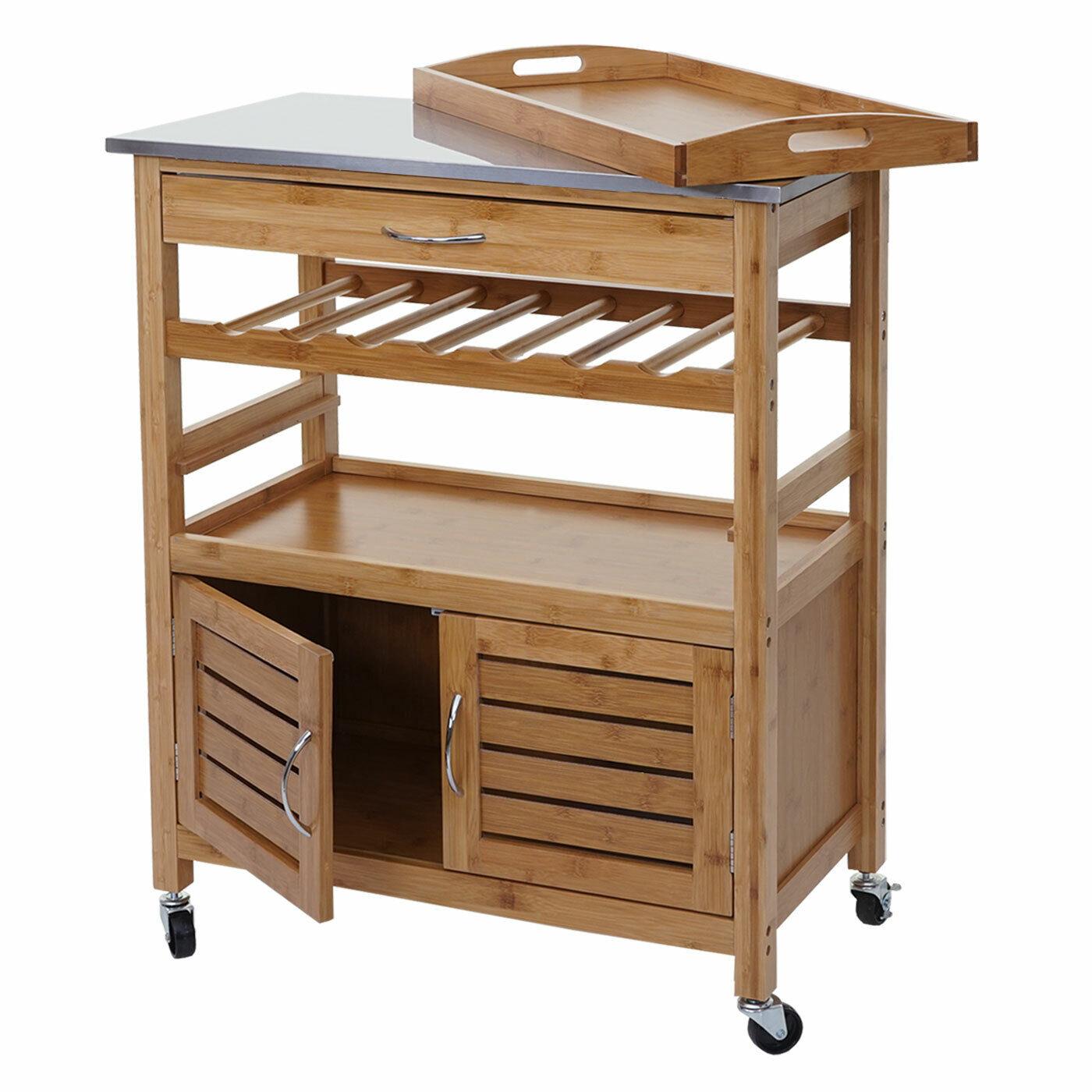 Trolley hwc-d15, Bar Kitchen Helper, Bamboo Stainless Steel Plate, 89x70x37cm