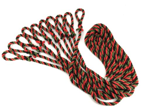 10 x 12mm Nylon Fender Lines Black, Green & Red Rope Ties x 1.5 Metres
