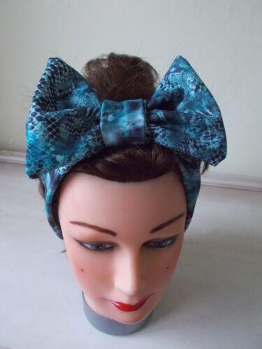 HEAD HAIR BAND blue snake skin print STRETCH  BOW ladies ROCKABILLY ACTIVE