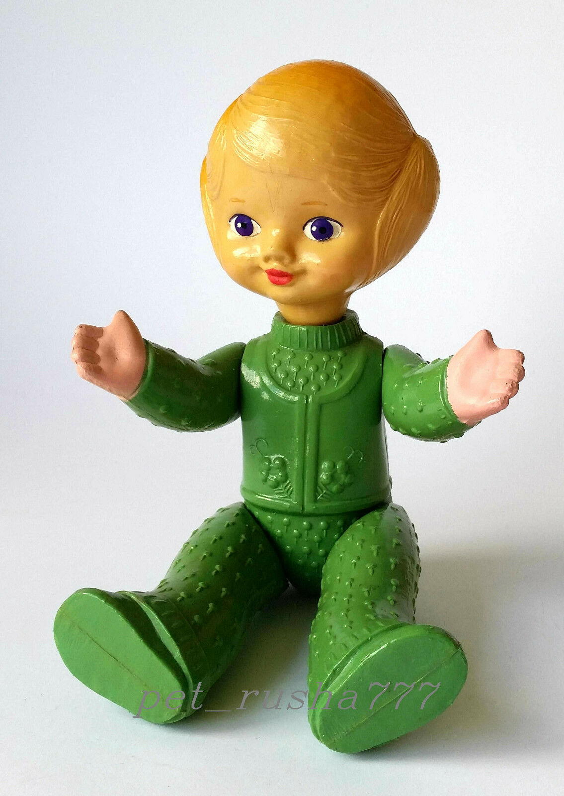1960s-1970s USSR Russian Soviet  CELLULOID Toy Beautiful Beautiful Beautiful LITTLE GIRL in GREEN 148c30